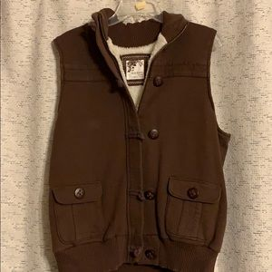 Brown Vest with Sherpa Lining